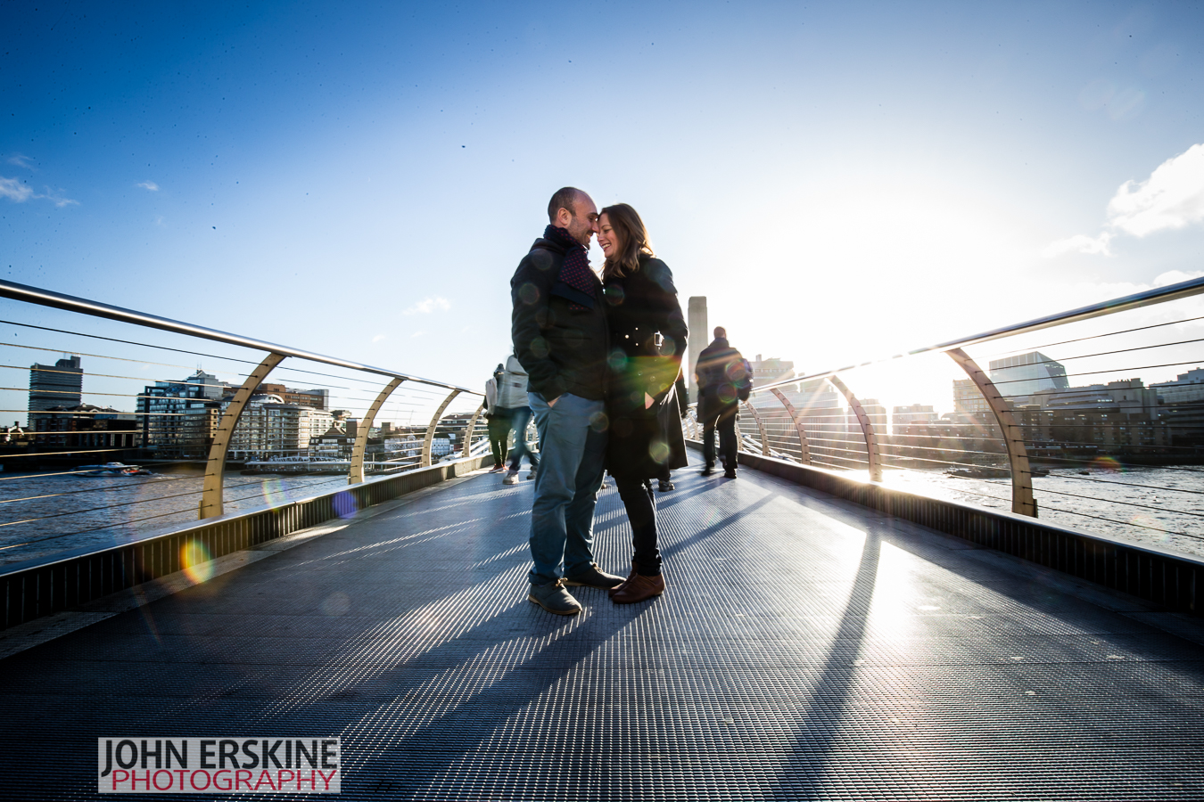Love on the Millenium Bridge - London Engagement Photographer