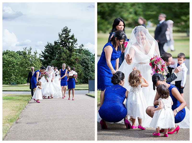 Bridal party arriving at Kew Gardens, London Wedding