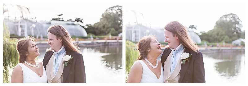 Kew Gardens wedding photographer portraits bride groom Palm House