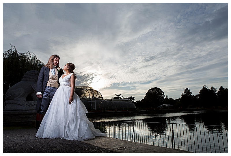 Dramatic wedding couple shots by Kew Gardens Wedding Photographer John Erskine