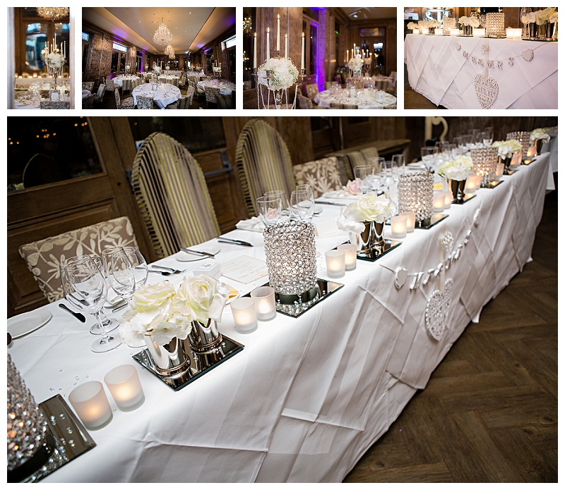 beautiful wedding top table dressing Fawsley Hall