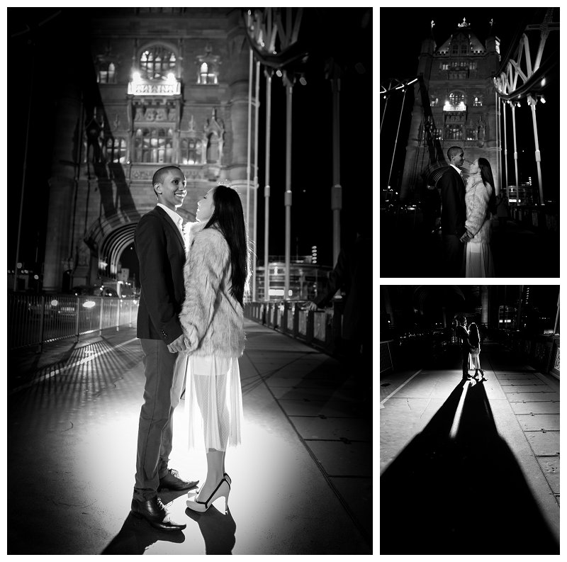 12 Stunning Romantic Pre Wedding Engagement Shoot Photography Tower Bridge at Night City of London