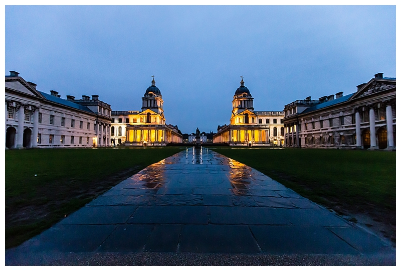 Top London Wedding Photographer ORNC Admirals House Greenwich at night