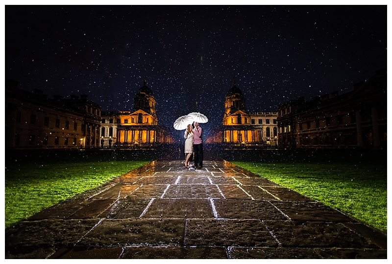 Top London Wedding Photographer ORNC Admirals House Greenwich Couple in the Rain