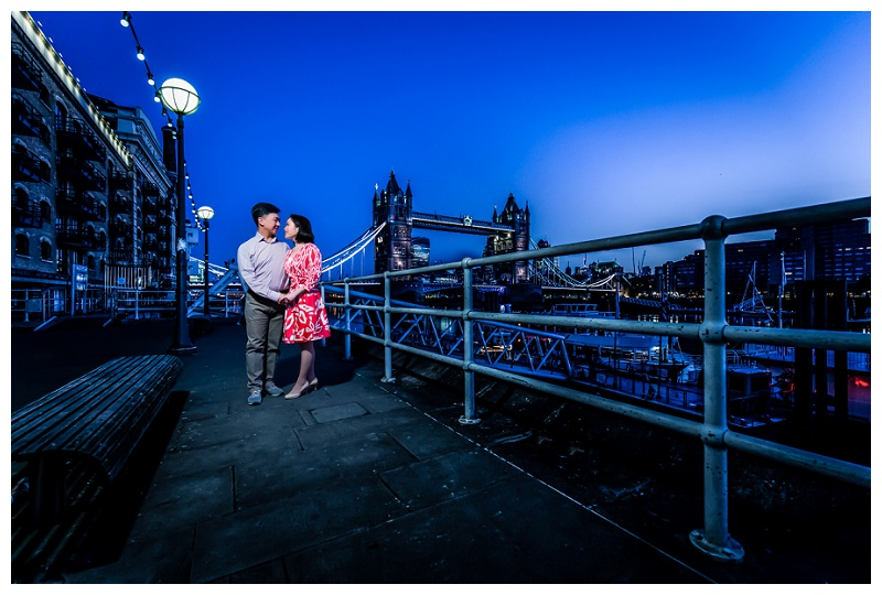Hong Kong London Engagement Shoot Tower Bridge Sunrise