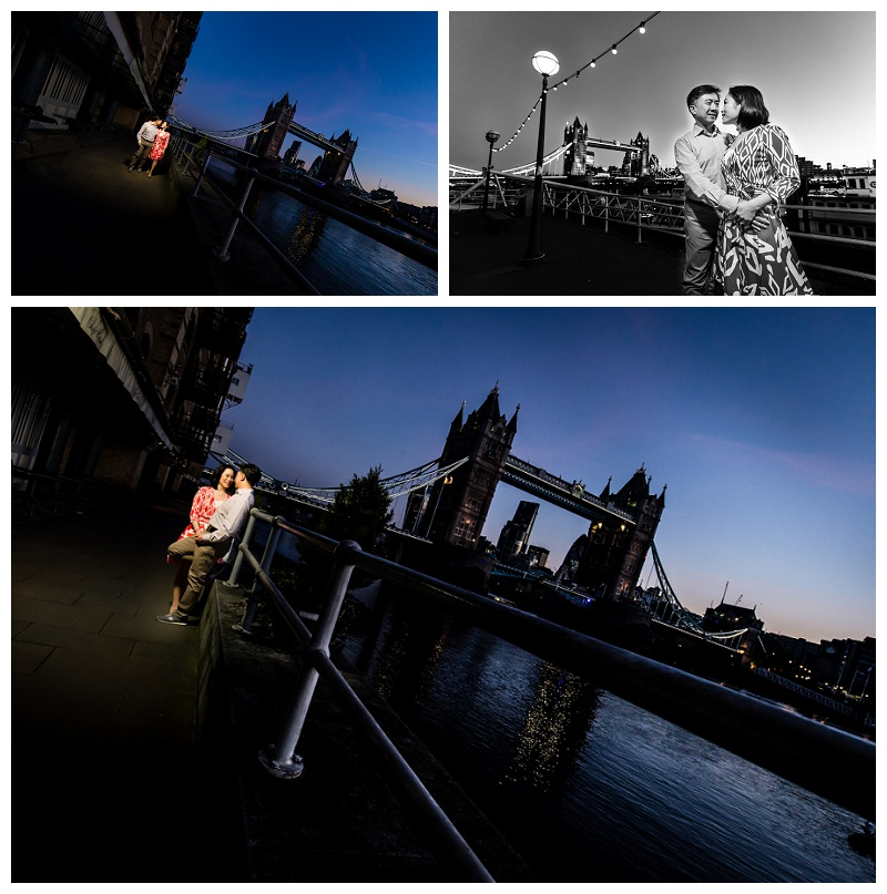 Hong Kong London Engagement Shoot River Thames Sunrise