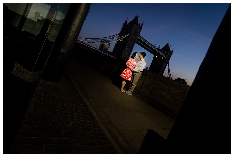 Romantic Hong Kong London Engagement Shoot River Thames Blue Hour