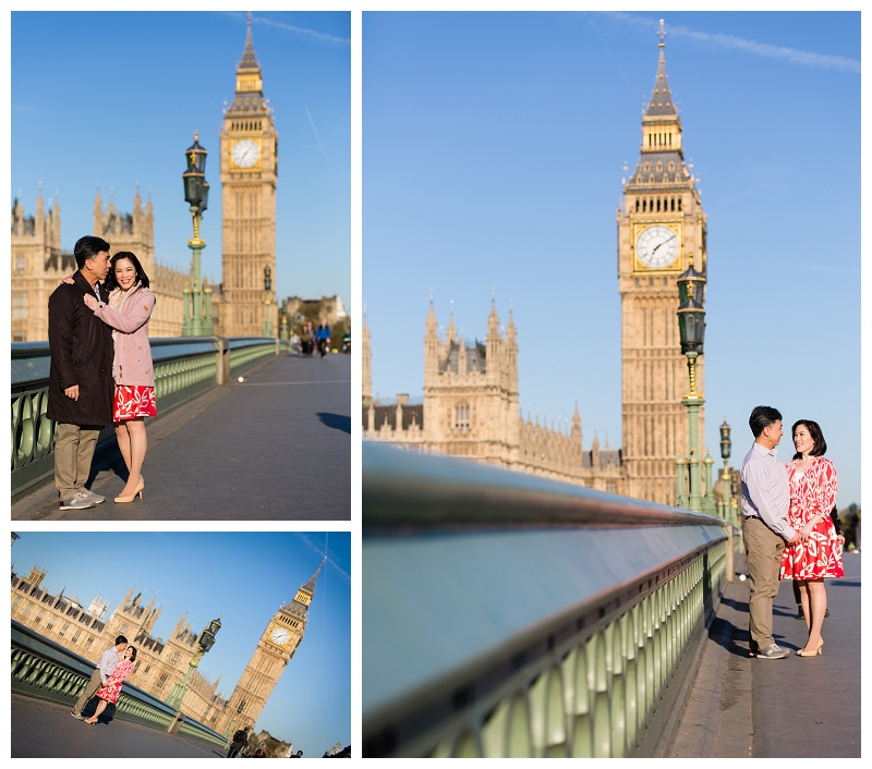 Fabulous Hong Kong London Engagement Shoot Westminster Bridge Big Ben Embankment