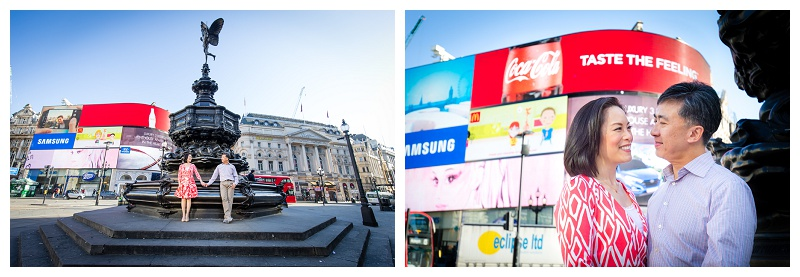 Fun Hong Kong London Engagement Shoot Piccadilly Circus