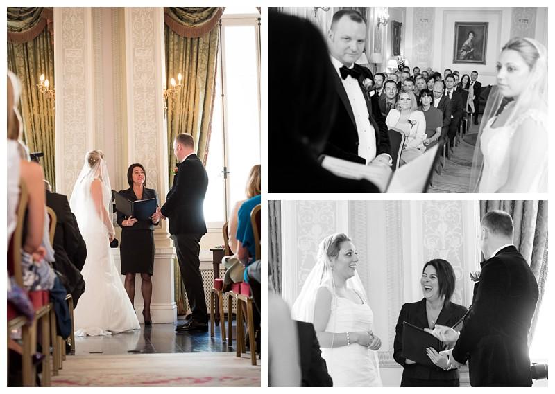 Top London Wedding Photographer Lansdowne Club Exchanging Vows