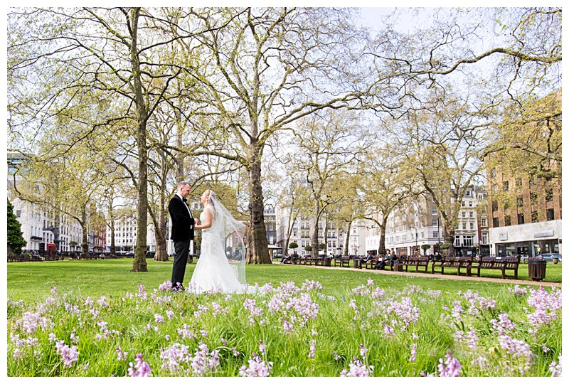 Best London Wedding Photographer Lansdowne Club Stunning Couples Portrait Berkeley Square Gardens