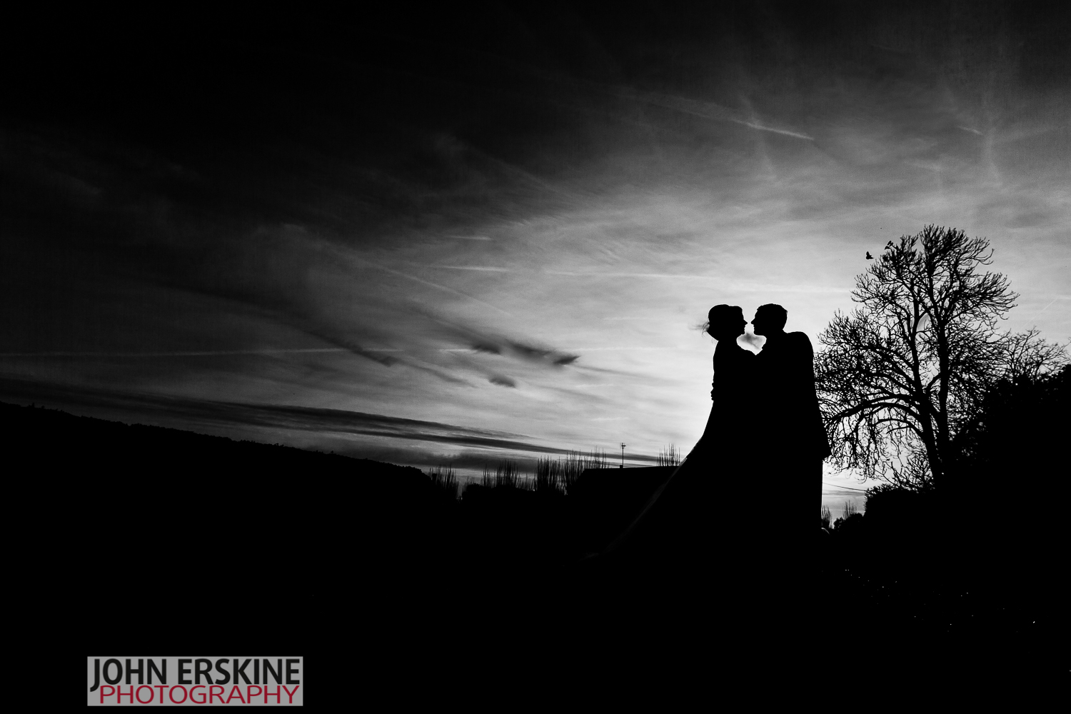 bridal couple silhouette kent wedding