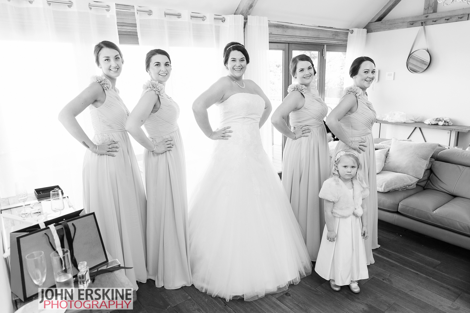 Bride Bridesmaids and One Flower Girl ready to go