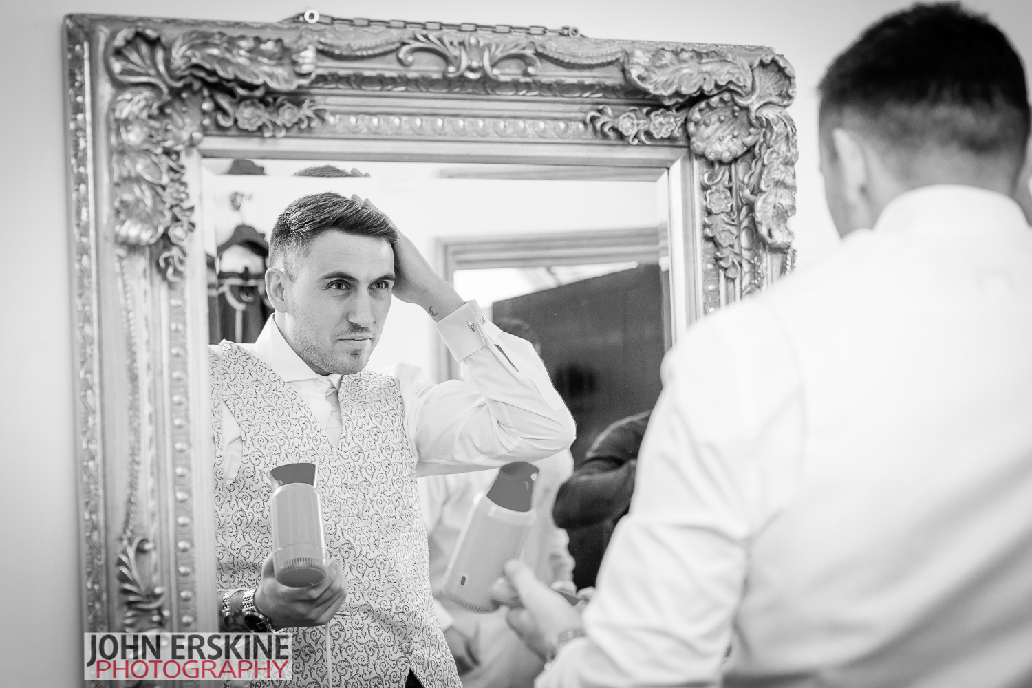 Groomsmen and Ushers getting ready Mirror