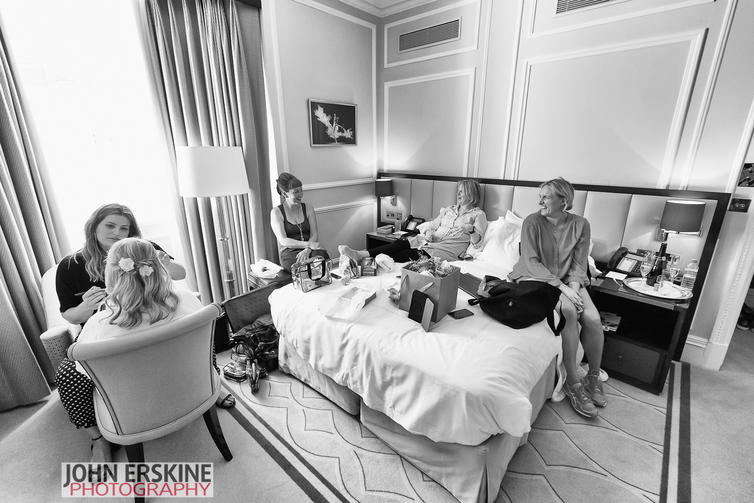 Bridal Prep Laughter Girls Claridges Wedding Photographer