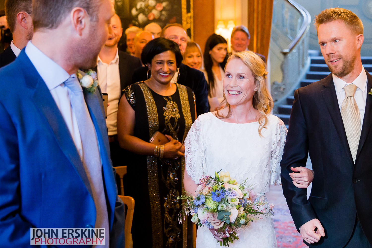 Bride Groom Wedding First Look Smiles Mayfair Wedding