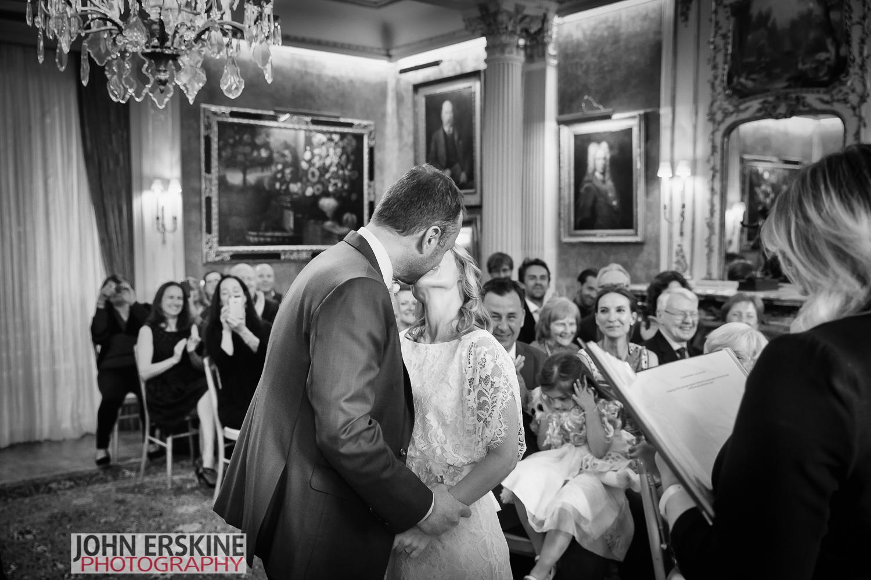 First Kiss BandW Mayfair Wedding Photographer
