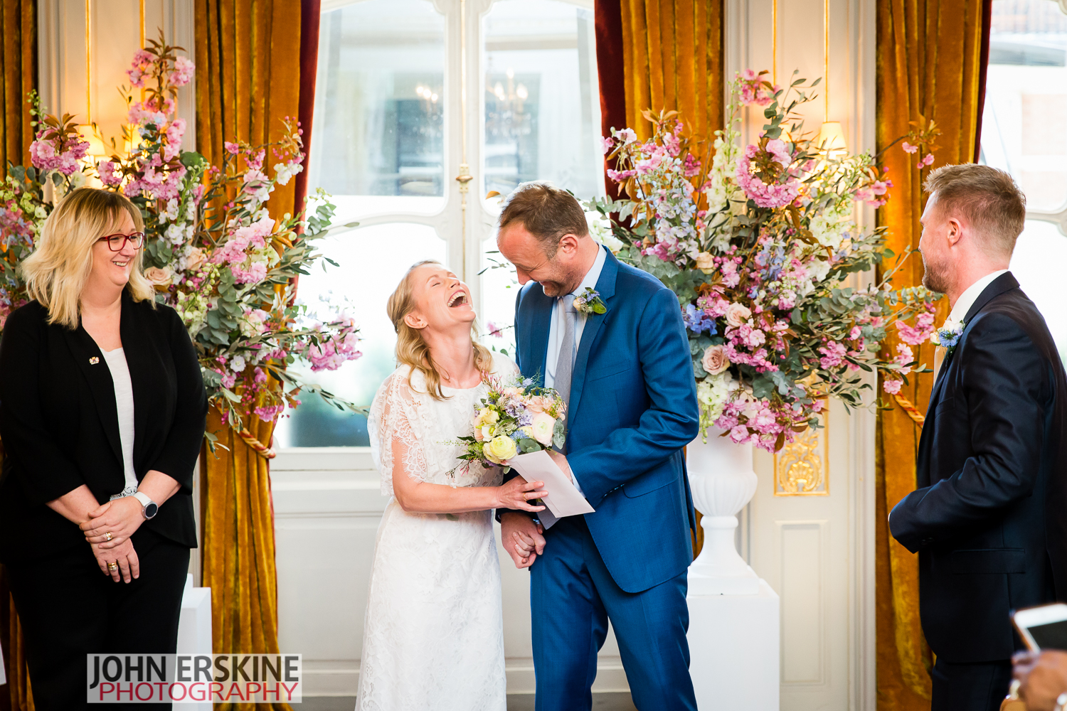 Documentary Mayfair Wedding Photography Bride Groom Laughter