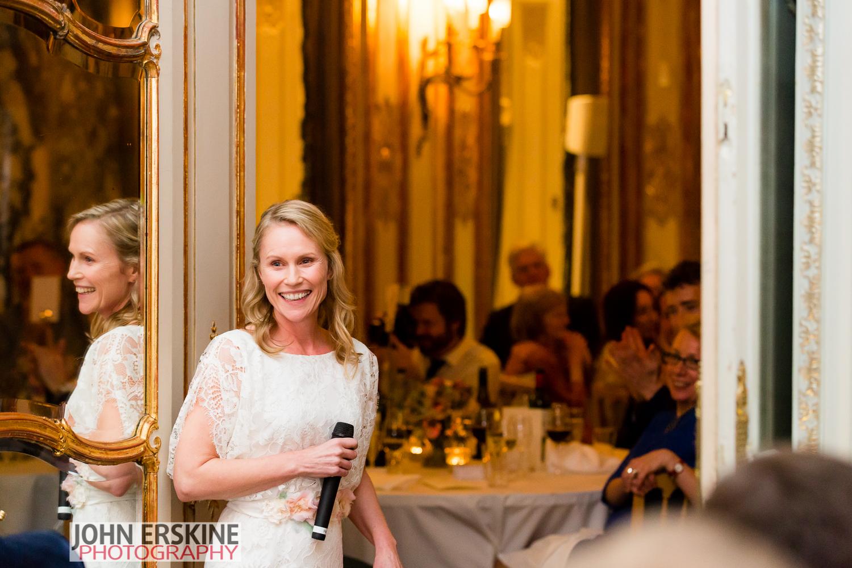 Brides Speech Smiles Savile Club Wedding Venue in Mayfair