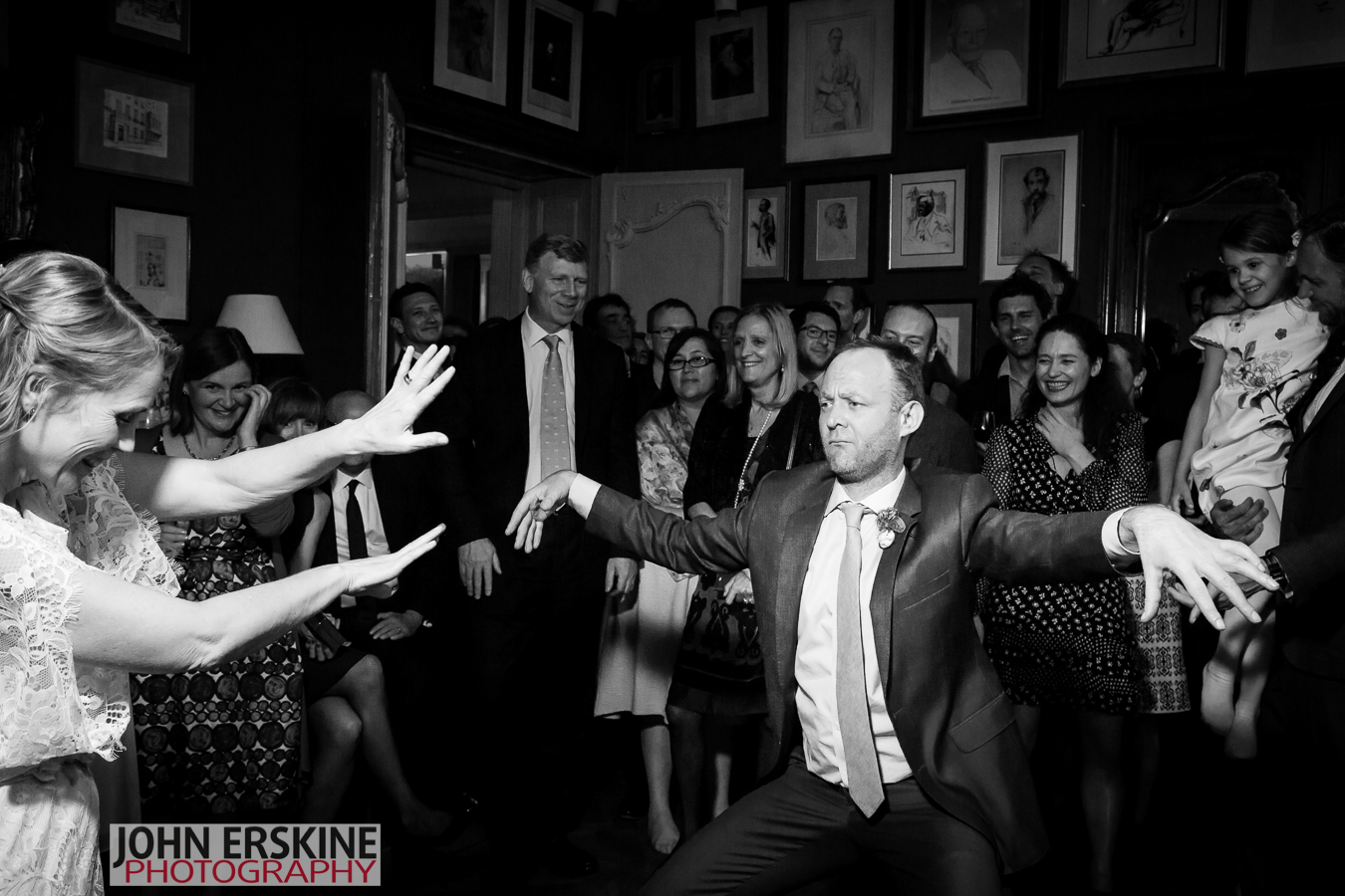 Groom having fun dancing London Wedding