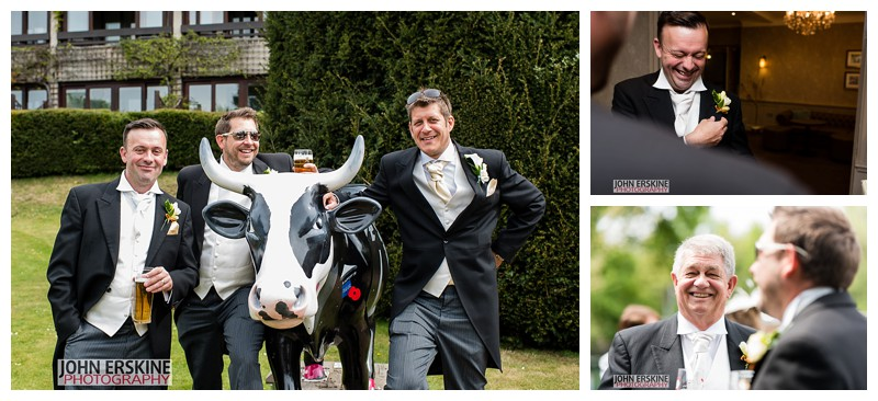 Groomsmen with Cow