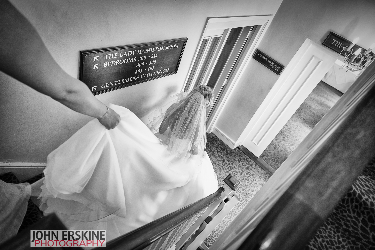 Surrey Bride descends stairs