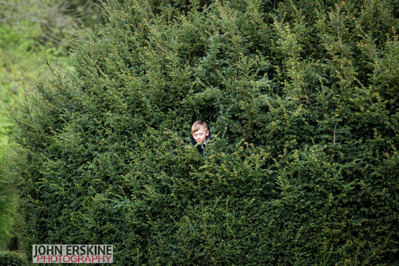 Son in Tree closeup