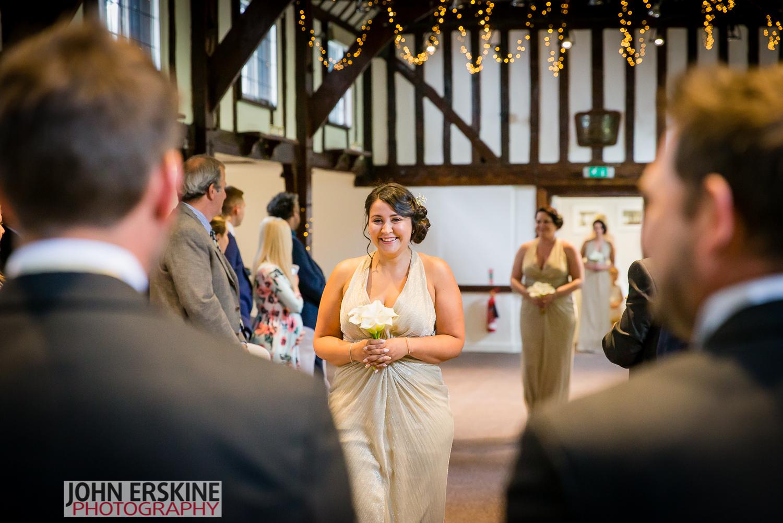 bridesmad entrance smile